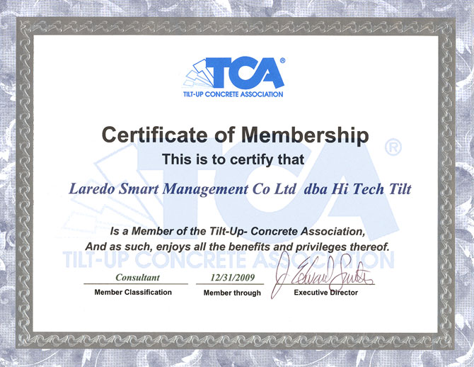 Tilt-Up Concrete Association Certificate of Membership – Hi-Tech ...